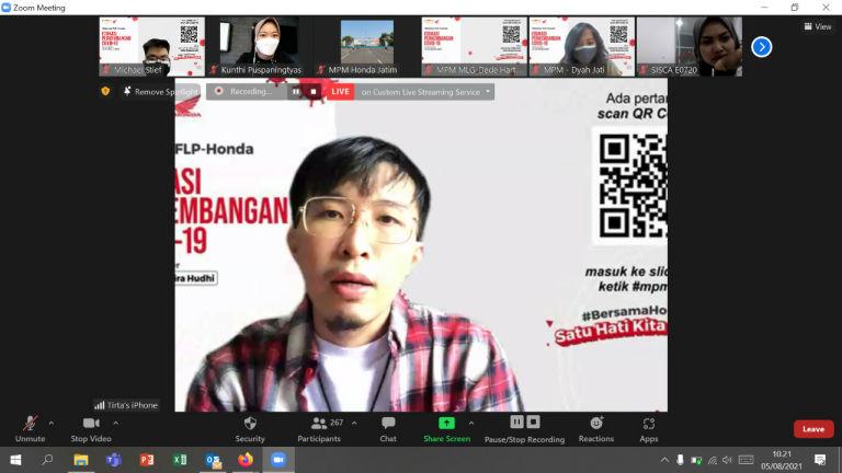 MPM Honda Jatim Undang Dokter Tirta Di Webinar Karyawan Dealer Honda dan AHASS Di Jatim & NTT